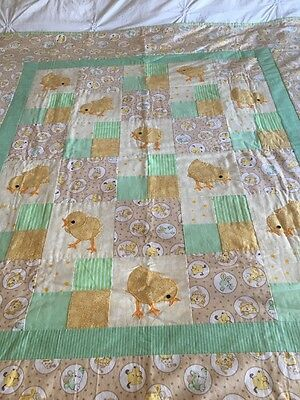 """Handmade patchwork quilt 'little chickens' size 49"""" X 55"""" Long With Appliqué"""