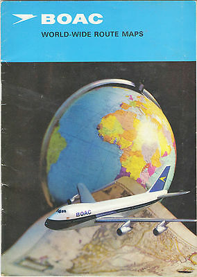 """BOAC-1971 """"24 page book of Route Maps + Pull-out 16""""x15""""(2 sided) Worldwide Map"""""""
