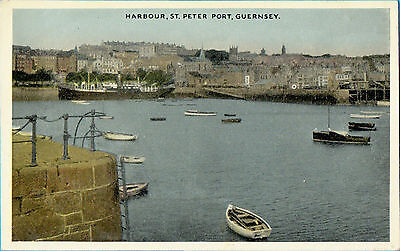 Harbour St.Peter Port with old ship,Guernsey (E.T.W.Dennis & Sons)