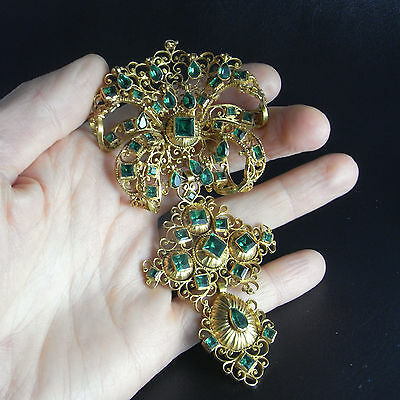 Georgian 18K Gold Green Emerald Paste Stomacher Pendant Antique Pre Victorian
