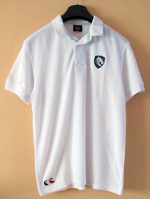 Canterbury Rugby Leicester Tigers White waffle Polo Shirt - Size Large
