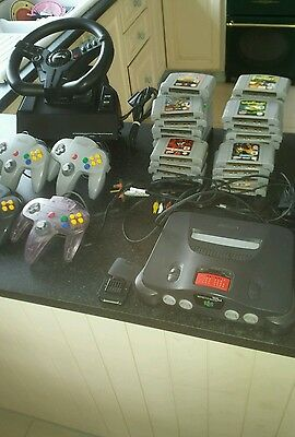 Nintendo 64 & 38 games, Steering Wheel, 4 controllers & expansion pack