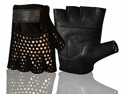 Leather Mesh Weight Lifting Training Cycling Driving Wheelchair All Sports Glove