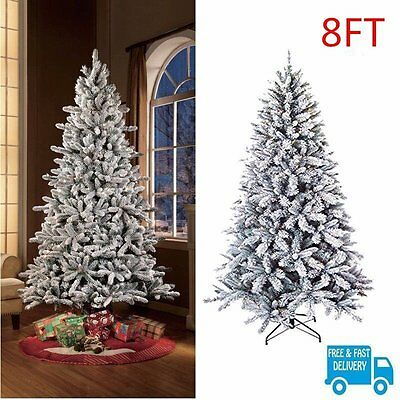 Flocked Christmas Pine Tree 8Ft Pre Lit Artificial Holiday White Snow 1000 Tips