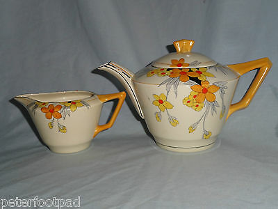 CROWN DUCAL : Sunburst teapot & jug