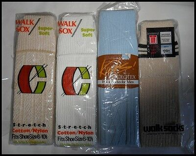 4 Pairs New Old Vintage Poly Cotton Walk Socks Sox New In Packet Size 6 - 10 1/2