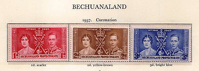 Bechuanaland Protectorate 1937 Coronation Set of 3 Stamps (SG 115/17) Mint
