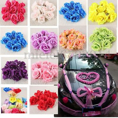 50x Fake Artificial Silk Rose Heads Flower Buds Bouquet Home Wedding Craft Decor