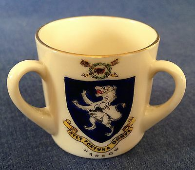 Arcadian Crested China.Loving cup.Three crests. Harrow, Middlesex, King Henry.