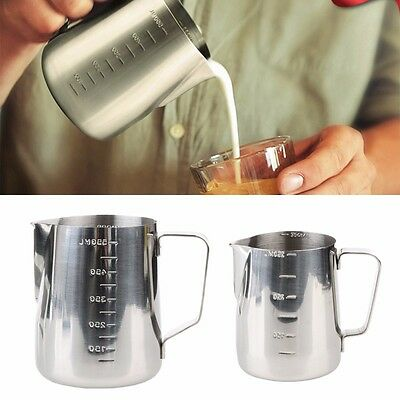 Stainless Coffee Steel Latte Frothing Milk Jug With Scale Measuring 350/600ml