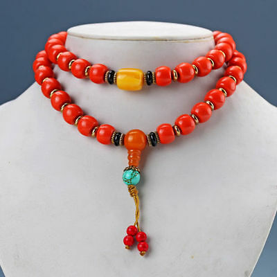 Chinese Red Turquoise & Beeswax Handwork Rosary Type Necklaces