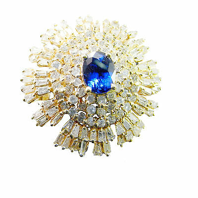 1950s Blue Sapphire Diamond Engagement Ring Statement Color Ballerina Cluster