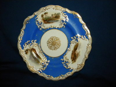 Antique Copeland & Garrett Plate 6800 Blue and Gold with three pictures 23,5 cm