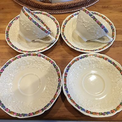 Crown Ducal Florentine Cups And Saucers