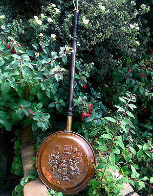 EARLY 1900s COPPER WARMING PAN-EMBOSSED INN SCENE-TURNED WOODEN HANDLE