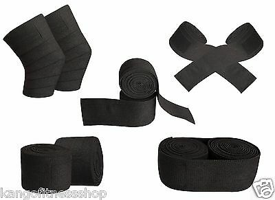 Power Weight Lifting Bandage Squats Support Knee Wraps w/ Velcro Black Pair