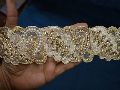 Indian Saree Laces Gold Kundan Trim Stone Work Sari