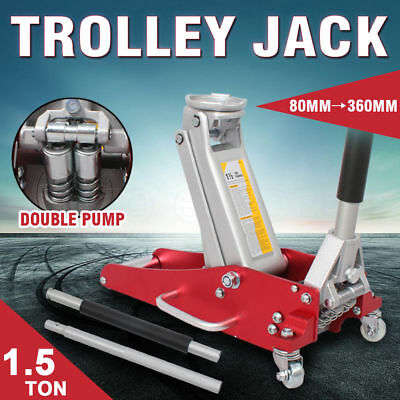 1.5 TON Aluminum Steel Hydraulic Floor Trolley Jack Dual Pump Car Low Profile