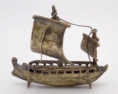 Vintage Solid Silver Viking Ship Miniature - Stamped - Made in Italy