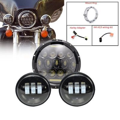 "7inch Led Passing Headlight Hi/Lo Projector + 4.5"" Fog Light for Harley Davidson"