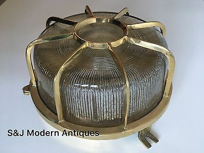 Industrial Bulkhead Wall Ceiling Light Vintage Antique Ship Lamp Gold Brass Old