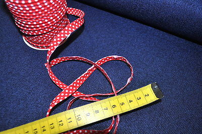 PIPING band Biese 1 Meter POINTS Haberdashery 100% Cotton Piping RED WHITE White