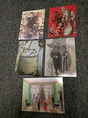 Krampus with St Nick Featured assorted postcards lot  (5 cards) christmas devil