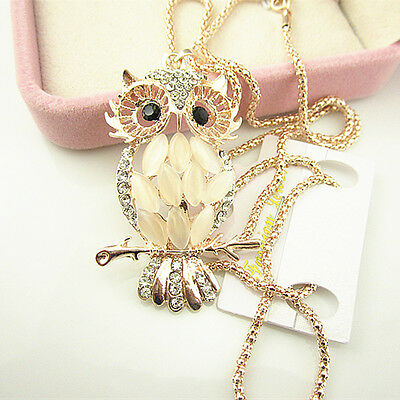 Lady Women lovely Jewelry Crystal Rhinestone Owl Pendant Necklace Sweater Chain