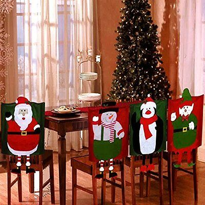 Christmas Chair Covers Set Of 4 PCS Hat Back Dinner Dining Table Decoration