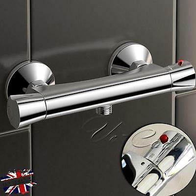 Modern Wall Mounted Thermostatic Chrome Bar Mixer Bath Shower Valve Control Tap