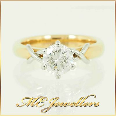 Solid 18K Yellow Gold Platinum Claw Solitaire 1.39ct Diamond Engagement Ring
