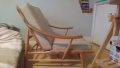 Vintage Ercol Easy Arm Chair & Foot Stool (Ercol Model 442) 1960s