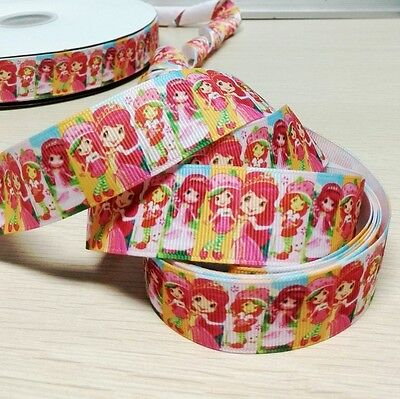 "10 Yards 1"" Strawberry Girl Print Grosgrain Ribbon Hair Bow Gift Cake Decoration"