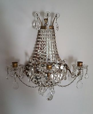Vintage Italy Mirrored Gold Gilt Brass and Crystal Chandelier Sconce wall beaded