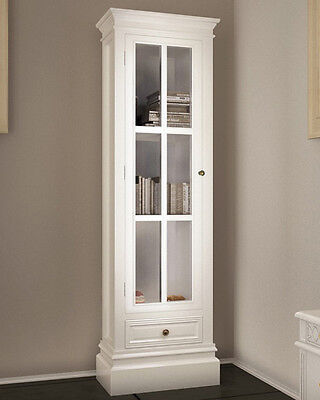 French White Bookcase Display Storage Cabinet Tall Chic Bedroom Large Furniture