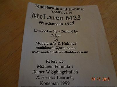 Tamiya / Falcon moulding Mclaren M23 1/20 ultra thin windshield rare