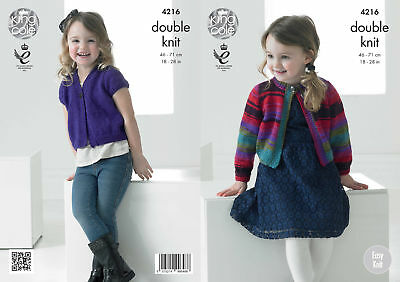 Girls Chunky Knitting Pattern King Cole Easy Knit Long Capped Sleeve Jacket 4216