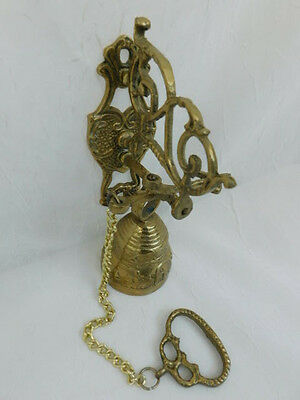 Brass Wall Mounted Ringing Bell Vintage Ornate Door