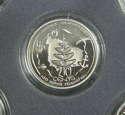 Proof 2001 NI, Norfolk Island 20 cent coin, Federation set encapsulated coin
