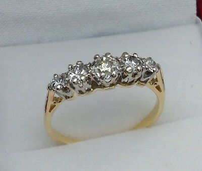18ct Gold 5 Diamond Eternity Ring Size N.