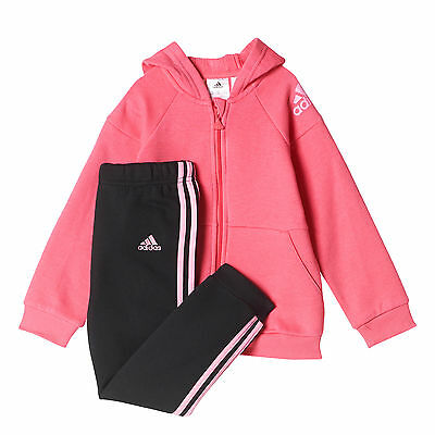 adidas Hooded Jogger Infant Toddler Girls Tracksuit Set Pink