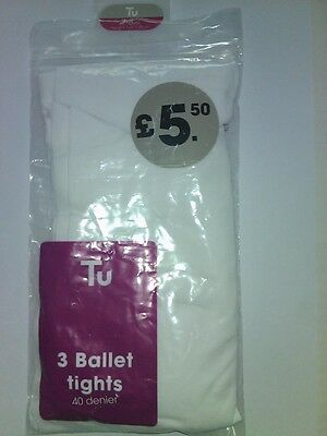 Girls 1 Pairs Of White Ballet Tights 7 8 Years Christmas Fariy Party Brand New