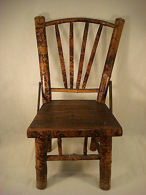 Victorian Bamboo Childs Chair Antique Wood Straight Back Doweled