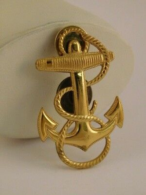 Us Naval Academy Navy Anchor Pin Brooch Usn Rope H H Vintage Antique Goldtone