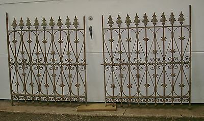 Pair Old Antique Heavy Ornate Steel And Cast Iron Gates