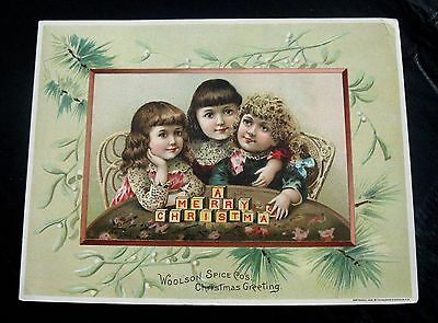 Over-Sized 1891 Woolson Spice Co.trade Card   Lion Coffee Christmas Greeting