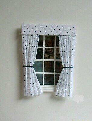 Dolls House Curtains Navy Polkadot