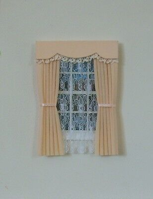 Dolls House Curtains Apricot And Lace