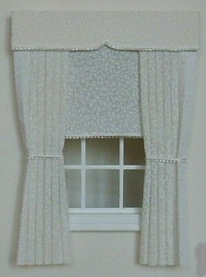 Dolls House Curtains Cream With Cream  Blind
