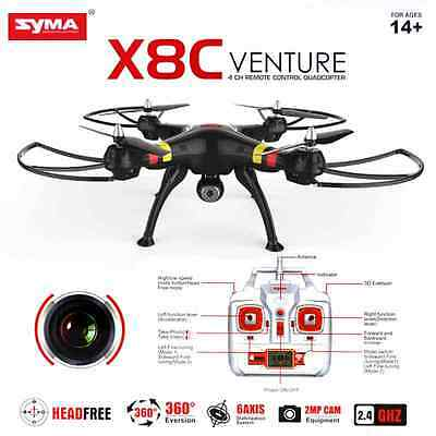 Syma X8C 2.4Ghz 6-Axis Gyro RC Quadcopter UAV RTF UFO 2MP HD Camera Black